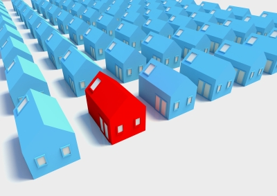 Many blue houses with one red one to represent comps
