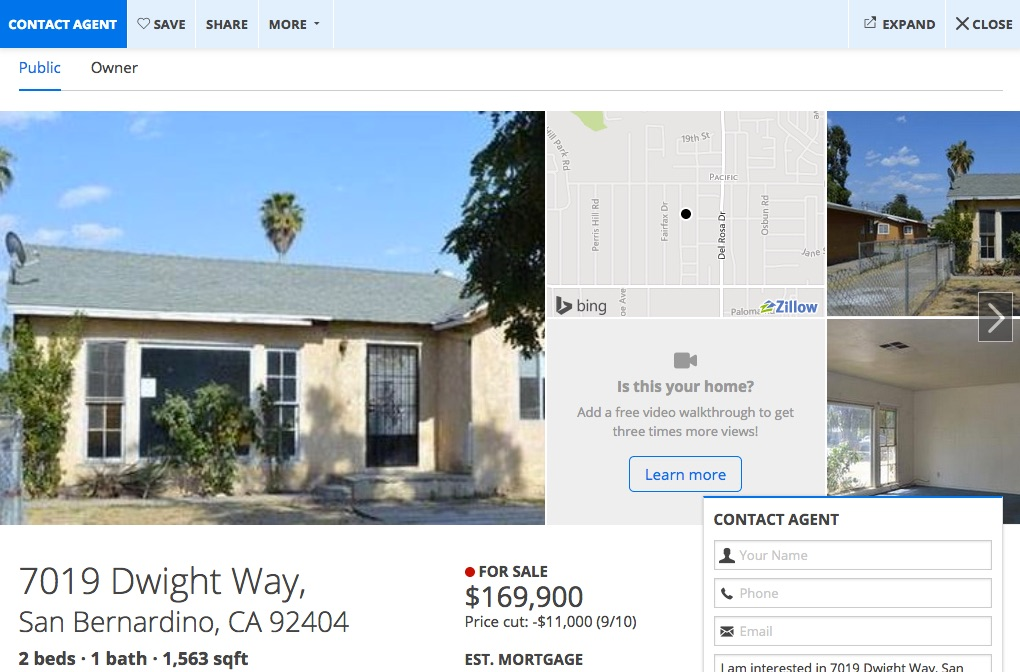 Picture of Zillow property information