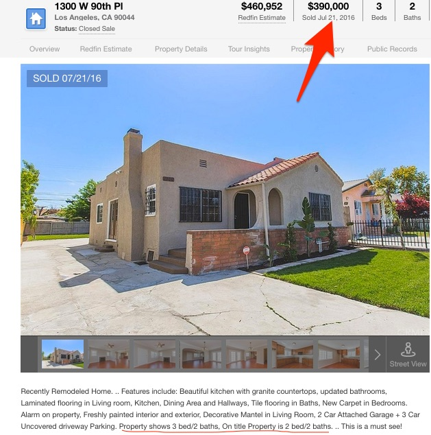 Redfin listing showing increased price of improved property