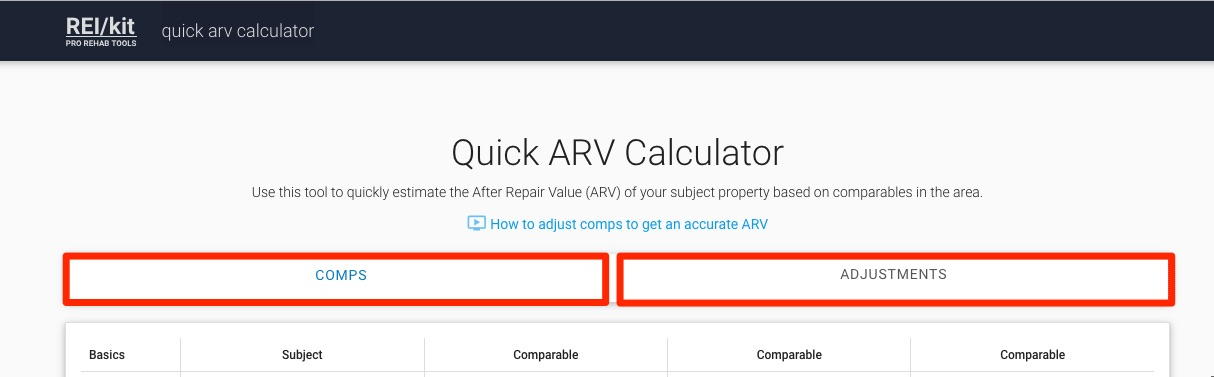 Two tabs in REI/kit ARV Calculator which are Comps and Adjustments