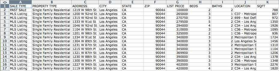 Excel spreadsheet showing property comps data downloaded from Redfin website