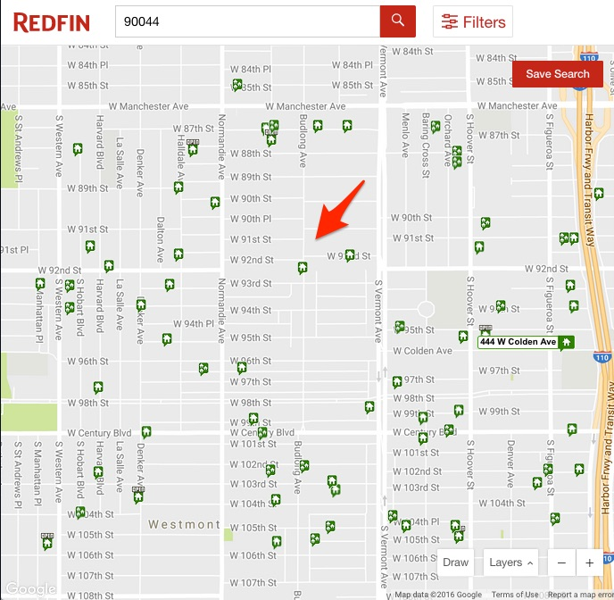 Red arrow pointing to the location of the investment fix and flip property in Redfin.com