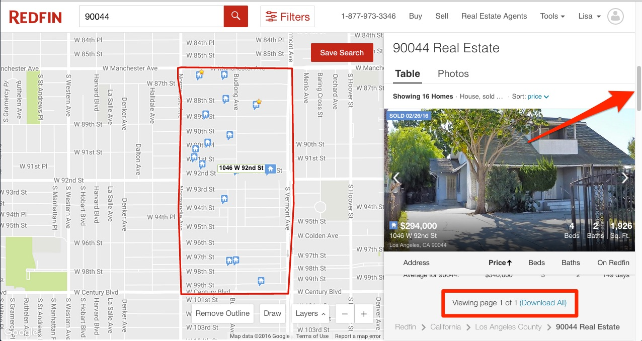 Red arrows in Redfin.com pointing to slider bar on right and download all link at bottom