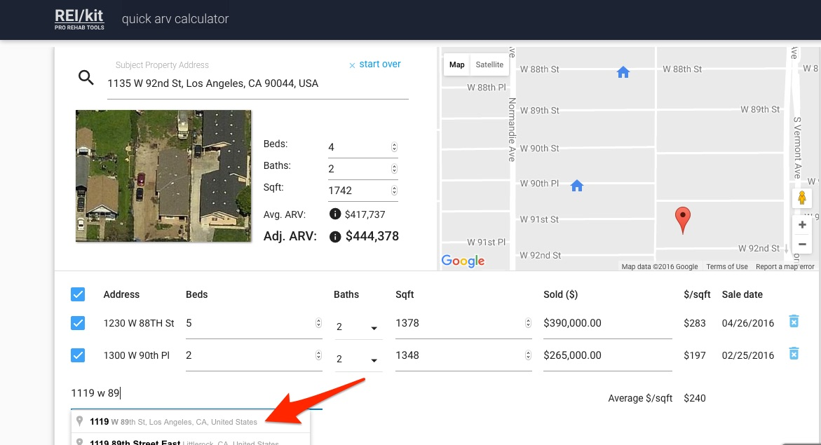 Add properties to REIkit Accurate ARV Calculator that are then autopopulated