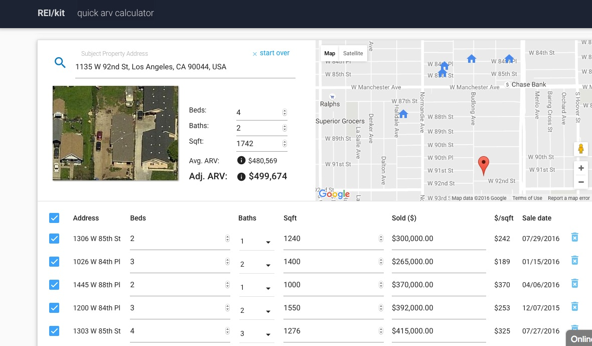REIkit Accurate ARV Calculator automatically populates the subject property info from Zillow